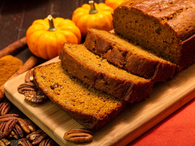 Pumpkin bread, pumpkin loaf, pumpkin muffins, literally any bread with pumpkin injected into it.