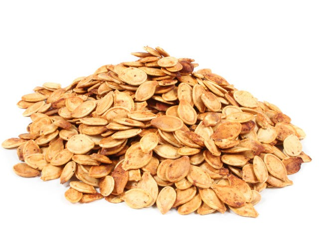 Roasted pumpkin seeds (a delicious salty treat!).