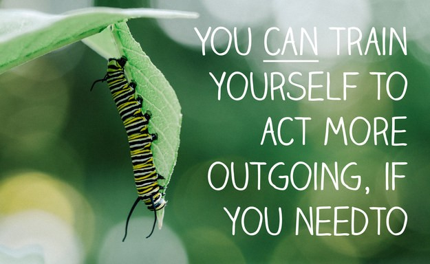 If you want to, you can train yourself to act more outgoing when you need to.