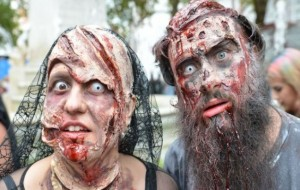Undead hordes spotted on the streets of London... but don't worry it's just World Zombie Day